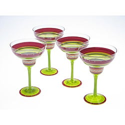 Certified International Hot Tamale Hand-painted Margarita Glasses (Set of 4)