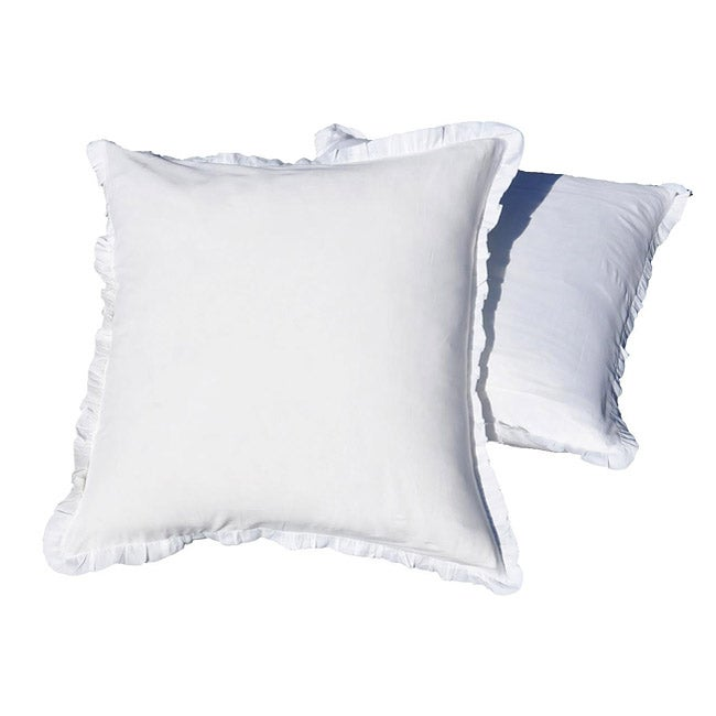 Ruffled White Euro Sham Pillowcases (Set of 2)