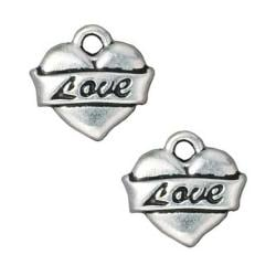Beadaholique Silverplated Pewter Love Heart Tattoo Charms (Set of 2)
