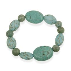 Glitzy Rocks Green Howalite Bead Stretch Bracelet