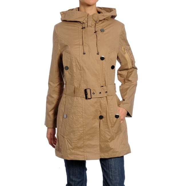 Nuage Women's Cotton Belted Hooded Jacket
