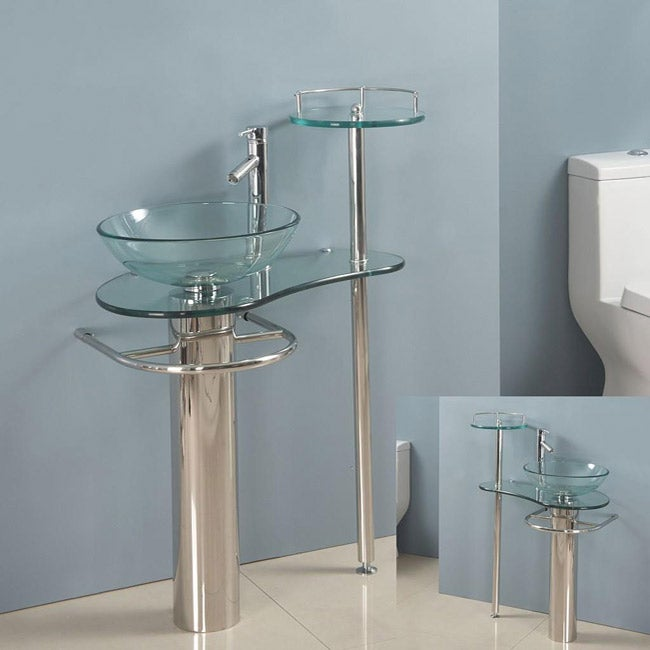 Kokols Wallmount Bathroom Pedestal Glass Sink Vanity Combo