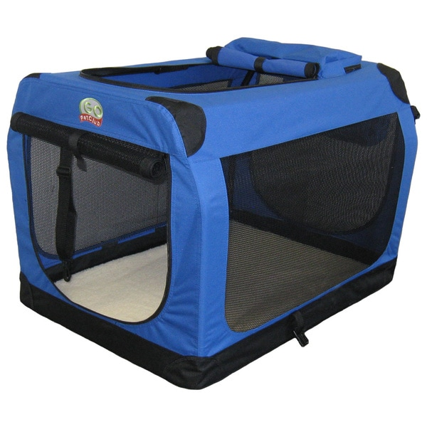 Go Pet Club Blue 20-inch Soft Folding Dog Crate House