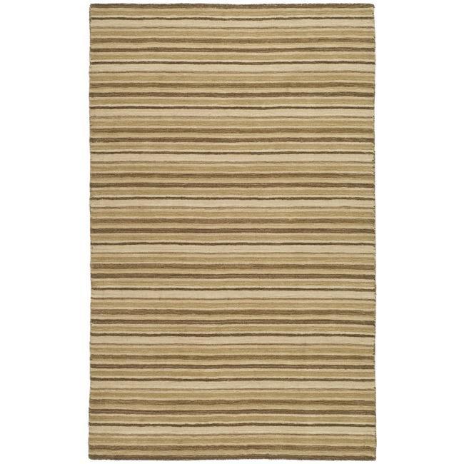Safavieh Handmade Stripes Ivory/ Brown New Zealand Wool Rug (7'6 x 9'6)