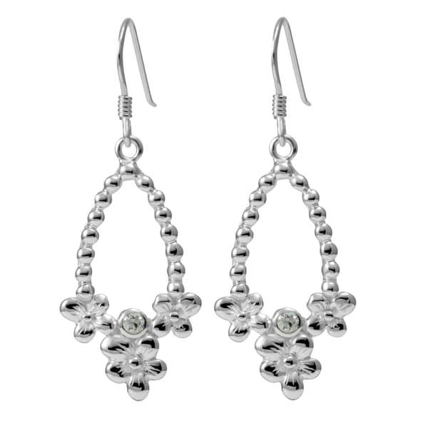 Sterling Silver Flowers Cubic Zirconia Earrings (Thailand)