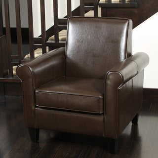 Christopher Knight Home Freemont Leather Brown Club Chair