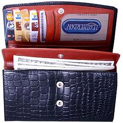 Leatherbay Women's Leather Accodian Wallet