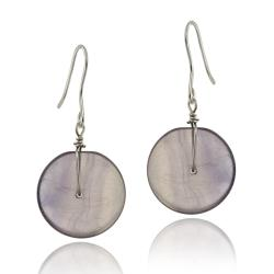 Glitzy Rocks Sterling Silver Purple Jade Disc Dangle Earrings