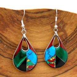 Alpaca Silver Gemstone Teardrop Earrings (Mexico)