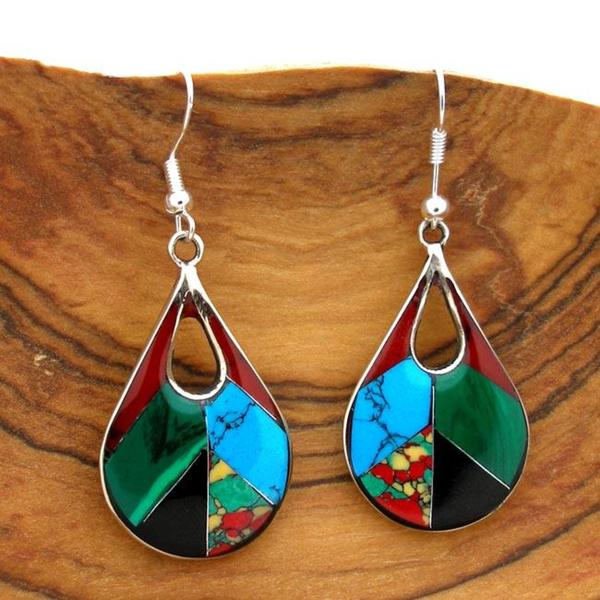 Alpaca Silver Gemstone Teardrop Earrings (Mexico) (As Is Item)