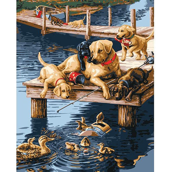 Paint By Number 'Dock Dogs' Kit