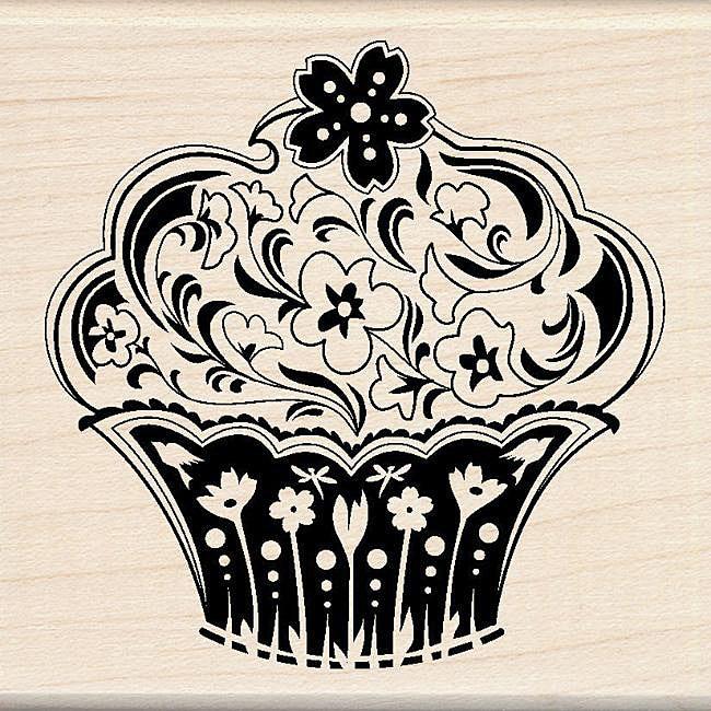 Inkadinkado Spring Flower Cupcake Rubber Stamp