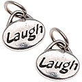 Beadaholique Silverplated Pewter 'Laugh' Message Charms (Set of 2)