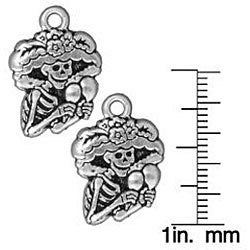 Beadaholique Silverplated Pewter Dia de los Muertos Catrina Charms (Set of 2)