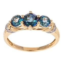 Anika and August 14k Yellow Gold London Blue Topaz and 1/10ct TDW Diamond Ring (G-H, I1-I2)