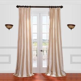 Light Brown/ Tan Striped Faux Silk Taffeta Curtain Panel