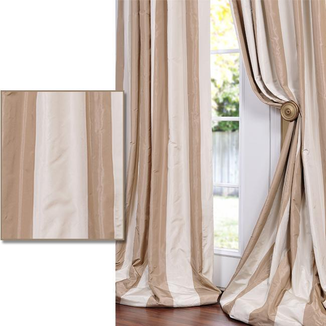 Light Brown/ Tan Striped Faux Silk Taffeta 120-inch Curtain Panel