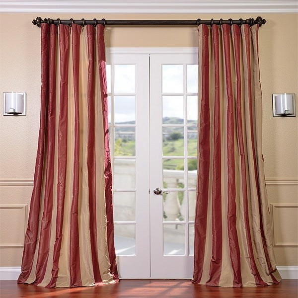 Red/ Golden Tan Striped Faux Silk Taffeta 84-inch Curtain Panel