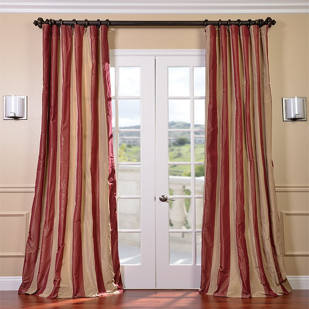 EFF Red/ Golden Tan Striped Faux Silk Taffeta Curtain Panel at Sears.com