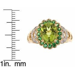 D'Yach 14k Yellow Gold Peridot, Tsavorite and 1/10ct TDW Diamond Ring (G-H, I1-I2)