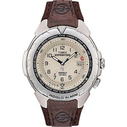 Timex Men's T47902 Expedition Easy Set Alarm Brown Leather and Nylon Strap Watch