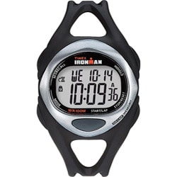 Timex Men's T54281 Ironman Sleek 50-Lap Black/Silvertone/Orange Watch
