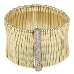 Celeste Satin Goldtone Pave-set Crystal Stretch Bracelet