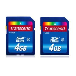 Transcend 4GB SDHC Flash Memory Card (Pack of 2)