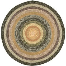 Hand-woven Indoor/Outdoor Reversible Multicolor Braided Rug (6' Round)