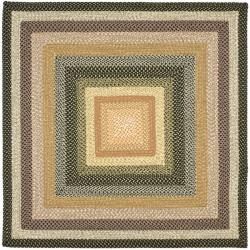 Hand-woven Indoor/Outdoor Reversible Multicolor Braided Rug (6' Square)