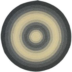 Hand-woven Reversible Multicolor Braided Rug (8' Round)