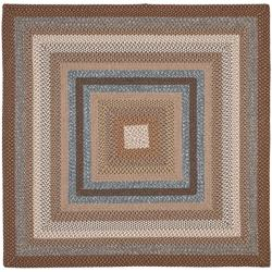 Hand-woven Reversible Brown Braided Rug (6' Square)