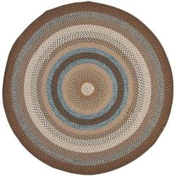 Hand-woven Country Living Reversible Brown Braided Rug (8' Round)