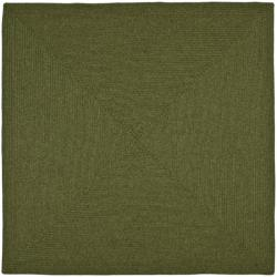 Hand-woven Reversible Green Braided Rug (8' Square)
