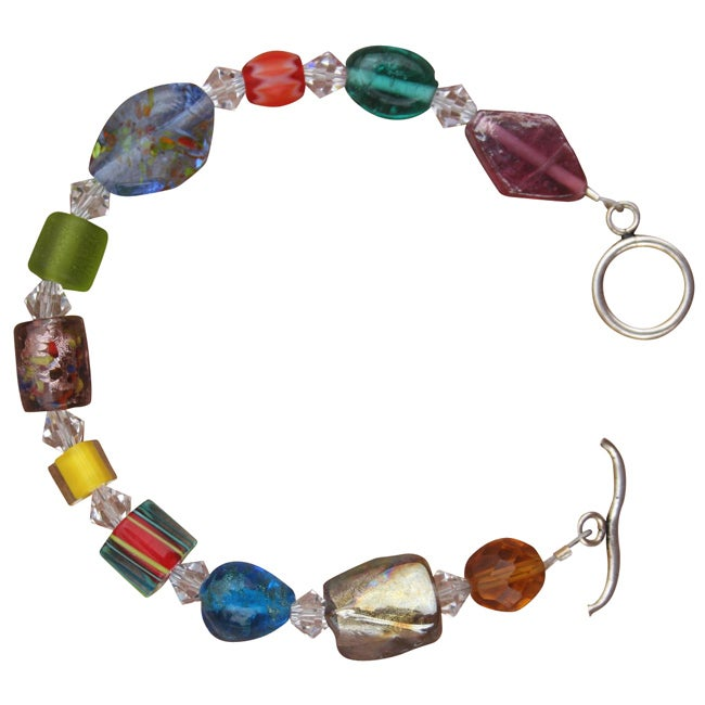 Beadwork by Julie Whimsical Art Glass and Crystal Bracelet