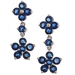 D'Yach 14k White Gold Blue Sapphire Flower Fashion Earrings