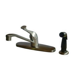Bright Satin-Nickel Finish Basic Brass Kitchen Faucet with Side Sprayer