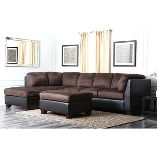 Abbyson Living Charlotte Dark Brown Sectional Sofa and Ottoman