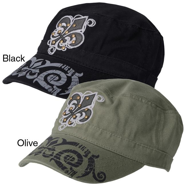 Journee Collection Women's Fleur-de-lis and Stud Accent Military Cap