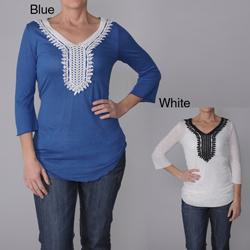 Dalit Women's Crochet Accent Neckline Tunic Top