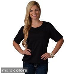 Adi Designs Women's Cotton-Blend Embellished Neck Tee