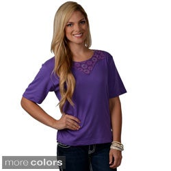Adi Designs Women's Crochet Embellished Neck Tee