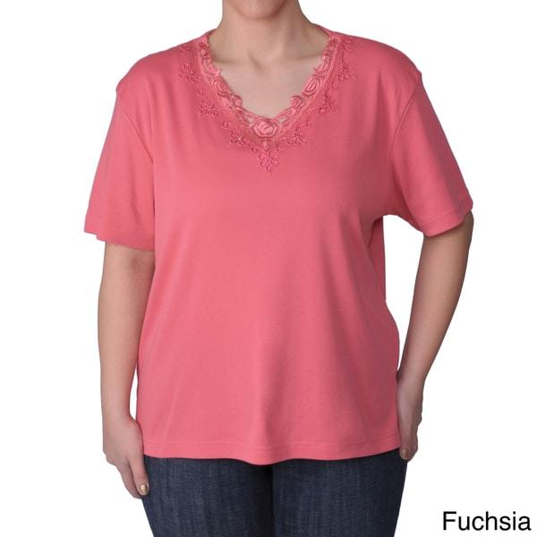 Adi Designs Women's Plus Size Embellished Neck Short-Sleeve Tee