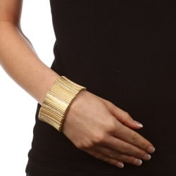 Celeste Goldtone Crystal Stretch Cuff Bracelet