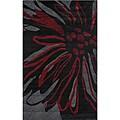 nuLOOM Handmade Black Norwegian Floral Pattern Venom Rug (4' x 6')