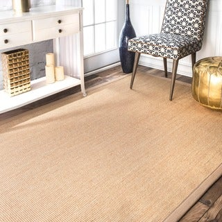 nuLOOM Handmade Alexa Eco Natural Fiber Cotton Border Sisal Rug (4' x 6')