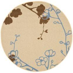 "Safavieh Contemporary Indoor/Outdoor Natural/Blue Rug (5'3"" Round)"