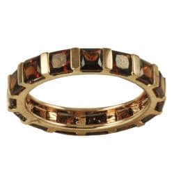 Gems For You 10k Rose Gold Garnet Eternity Ring (Size 7)