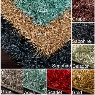 Hand-woven Ribbon Shag Multi Rug (5' x 8')