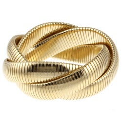 Celeste 18k Yellow-Gold Overlay Interlocked Omega Stretch Bracelet
